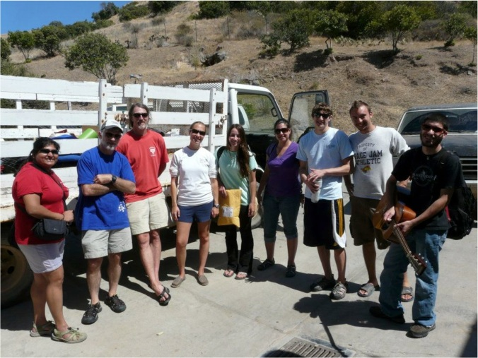 Catalina Field Crew 2012: (left to right) Devaleena Pradhan, Matthew Grober, Lock Rogers, me, Madie Willis, Megan Williams, Jason Crutcher, Joshua Giraffe, and Cory Grober