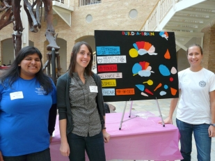 Devaleena Pradhan, Ariana Tamvacakis, and me (left to right) at the Fernbank Museum of Natural History's Science at Hand Day.